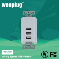 USA 3 usb outlet AC power wall socket +3 USB Charger ports + CE FCC RoHS