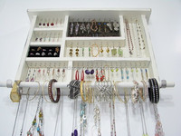 Rustic Multi-layer Wall Mounted Wood Jewelry Ring Display Case Stand Holder, Hanging Earring Display Rack with Hooks Wholesale