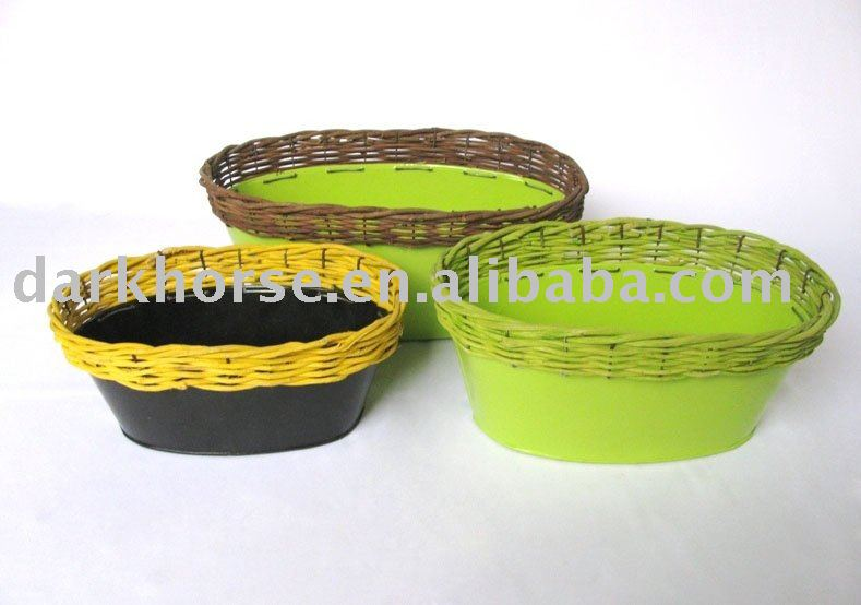 Oval Metal Garden Pot With Rattan On Top