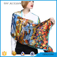 2017 Trending Products New Scarf Silk Shawls and Scarves Print Scarf