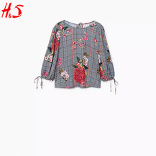 dongguan new arrival long sleeve comfortable fabric floral polo t shirt of woman