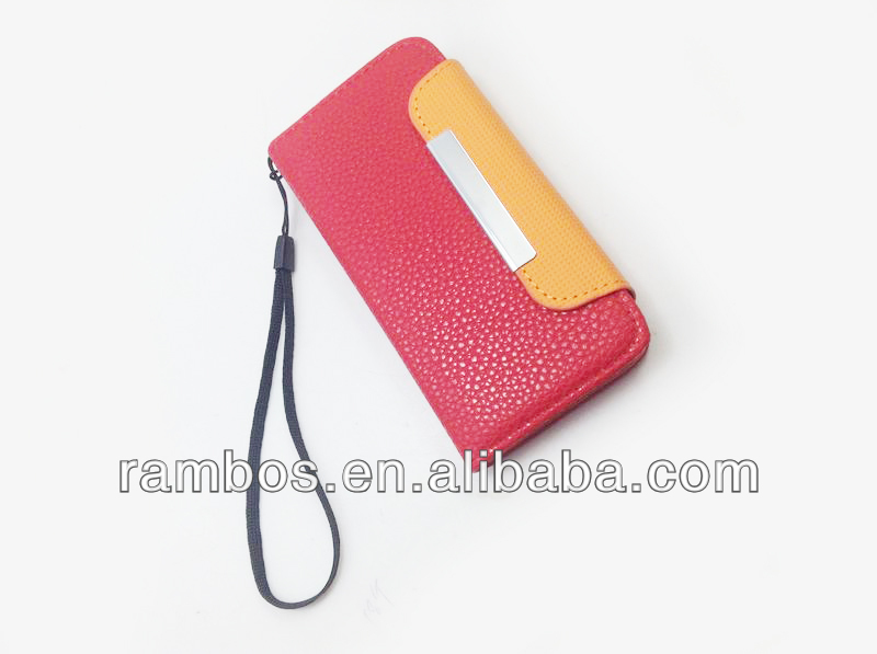 Smart Phone Leather Case Stand Cover Card Holder Pouch Leather Case for Samsung Galaxy S4 mini i9190