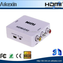 HDMI to AV Converter 1080P White Mini HDMI to Composite AV Video Converter Adapter plastic box