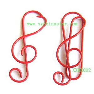 Red musical note paper clips