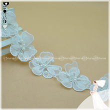 New style 3D Flower pearl Lace Trimming for dress decoration