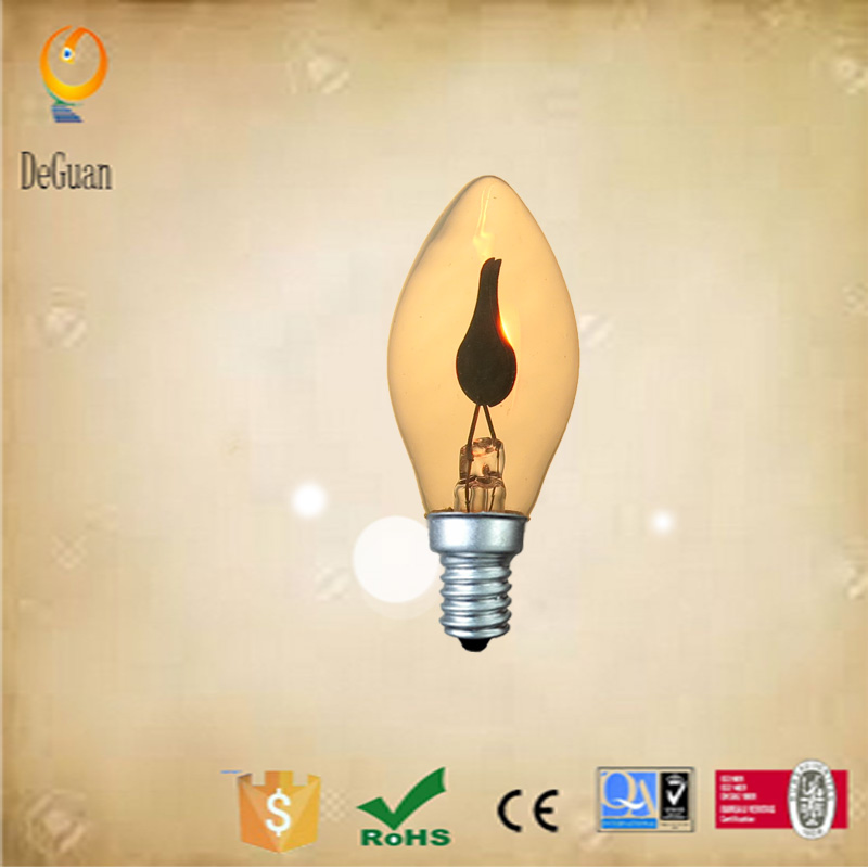 C7 Flicker Flame Light Bulbs 1W 1.5W 3W for Holiday Decoration