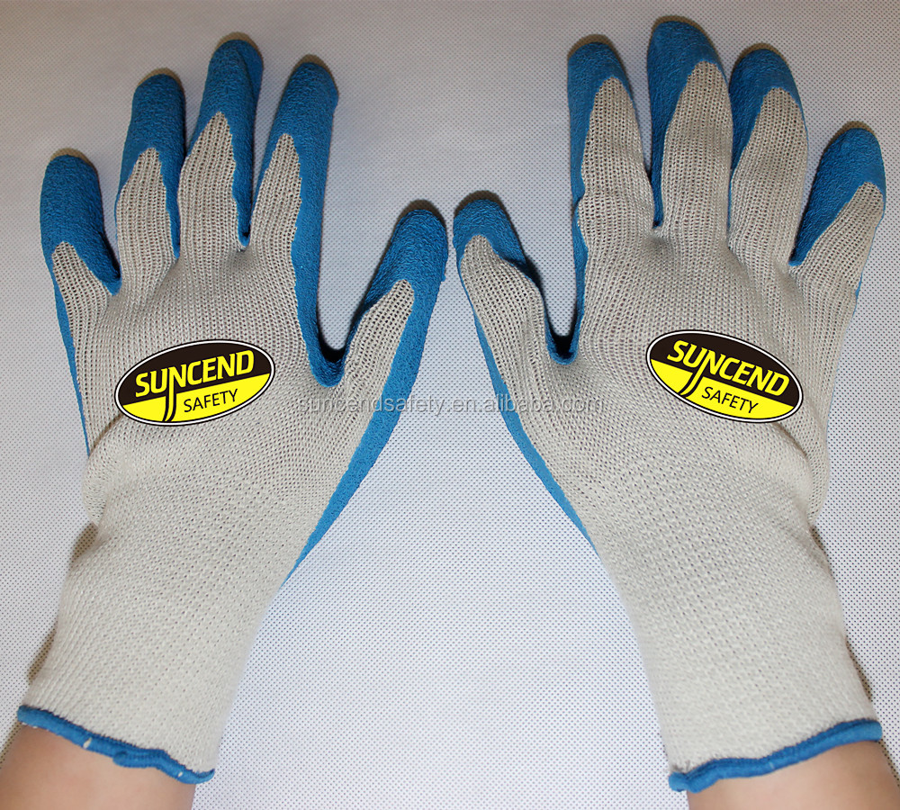 Natural white polycotton liner blue latex coated crinkle suncend safety gloves