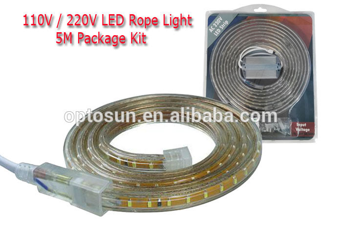 AC 110v 5050smd LED strip light color chasing IP65 flexible 5Meters per reel led light kit