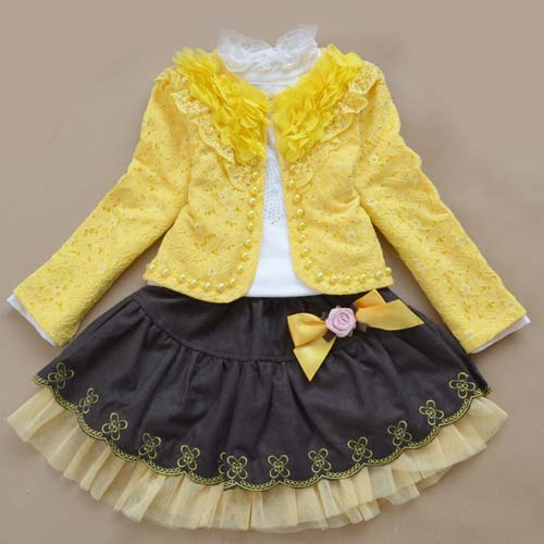 tau15002 Korean new autumn models girls three-piece lace dress wear brand children's clothing sets wholesale