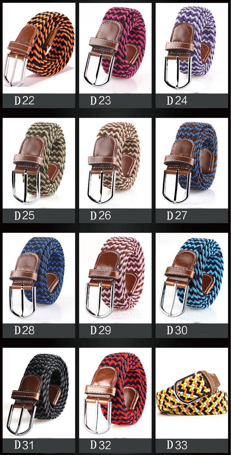 btb22853 Braided Elastic Webbing Casual Belt Men
