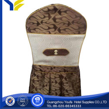 embroidered new style organza fabric high back wing chair cover for restaurant