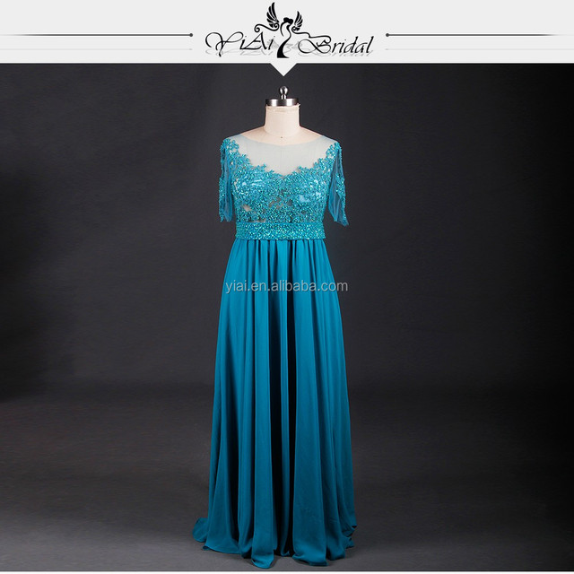 RSE633 See Through Corset Half Sleeves Lace Turquoise Blue Gorgeous Bridesmaid Dresses