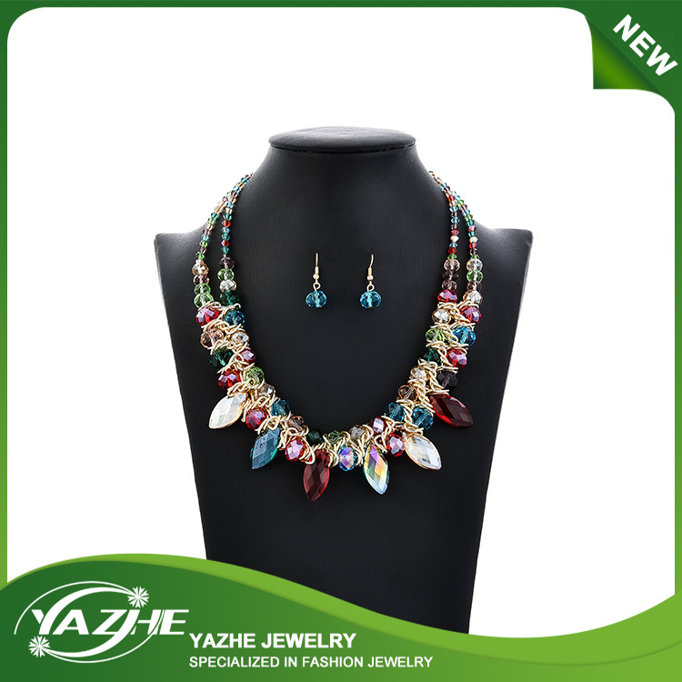 Double Layers Chains Glass Stones Statement Necklace Handmade Jewelry Necklace