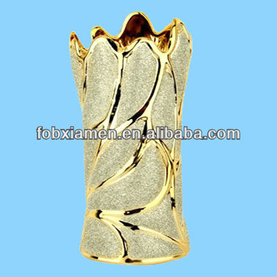 gold plated natural leaf design ceramic cheap vase