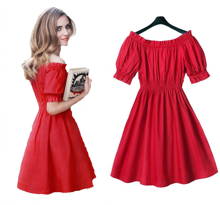 2015 Korean Style Women Summer Dresses Sweet Lolita Red Dresses Cheap Imported Women Clothing Plus Size M-5XL Smk224
