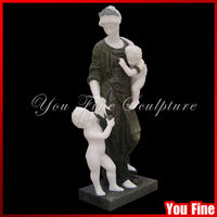 Natural Stone Baby Mother Marble Garden Woman Statue