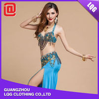 Popular quality handmade beads fringe decorated afghan belly dance stage dress