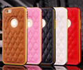 Metal Bumper Frame +Grid Pattern Leather Mobile Phone Cover Case For Apple iPhone 5/6/6 Plus