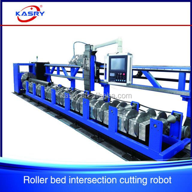 Professional pipe tube punching beveling cutting machinery//plasma metal cutter cnc//flame round pipe beveling saw