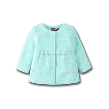 Children's woollen long sleeve warm coat with pleats at waistline