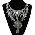 valentine's day high quality crystal statement necklace crystal vintage silver statement necklace