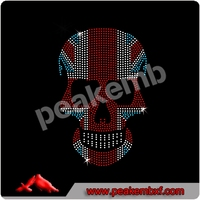 New 2014 Union Skull Hot fix Rhinestone Transfer dresses evening stones for clothes decoration