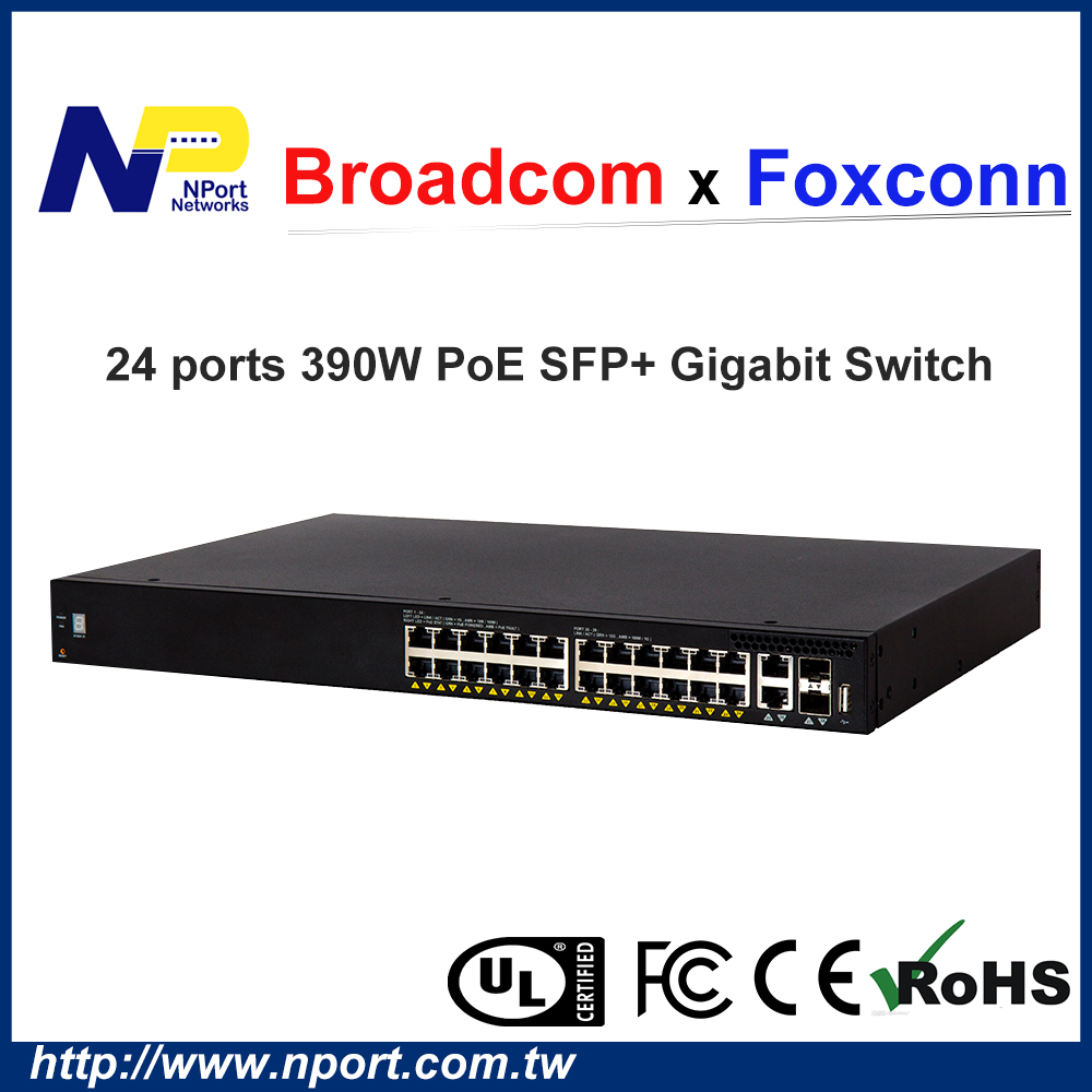 High PoE Budget Enterprise Ethernet Switch with 24 Gigabit Base-T 2 10G Base-T 2 10G SFP+ ports