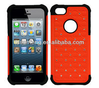 Soft silicone and hard pc cell phone case for apple iphone 5/bling diamond case for iphone 5
