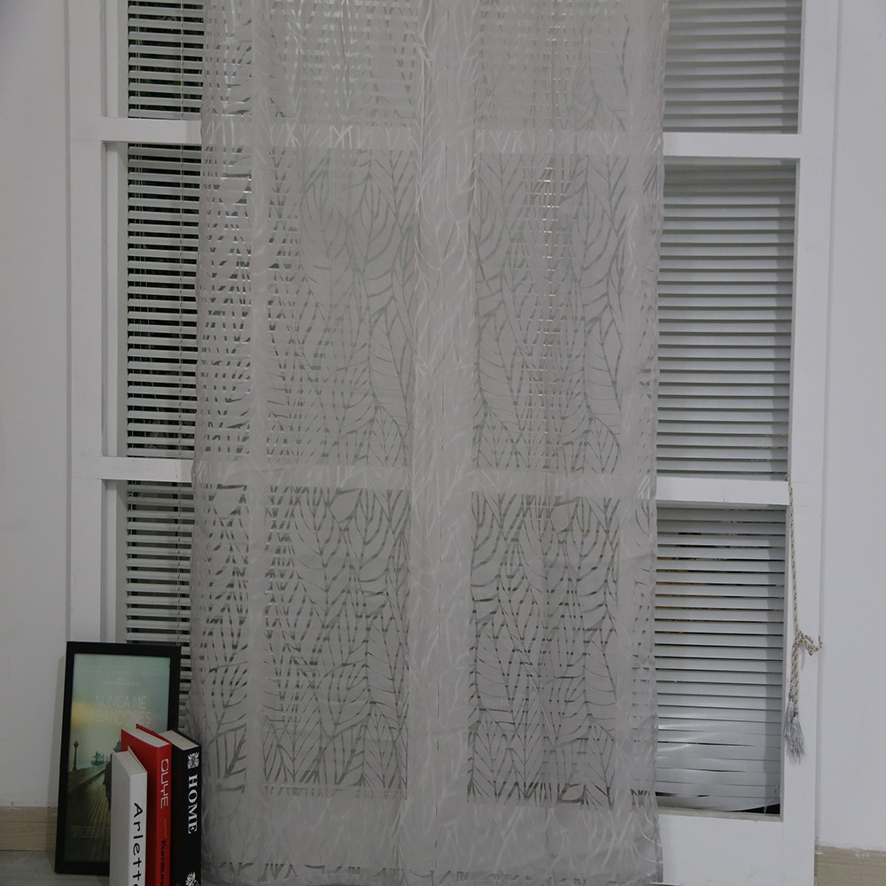 Good quality leaf pattern bedroom burnout sheer curtain drapery panel