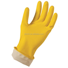 Brand MHR double color latex gloves for household with thickening/lined rubber gloves
