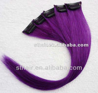 purple clip in hair extension/hair weave