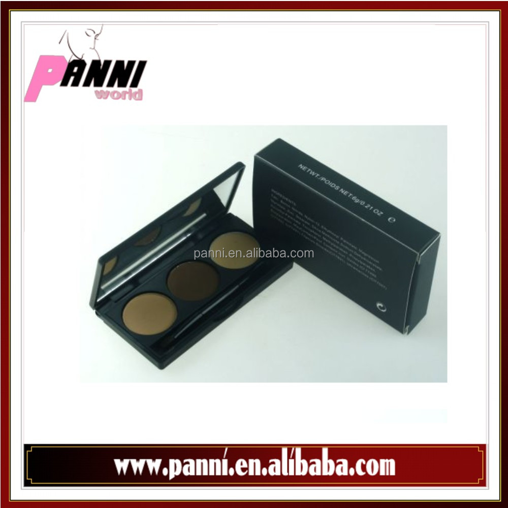 Private label 3 colors makeup eyebrow powder with brush