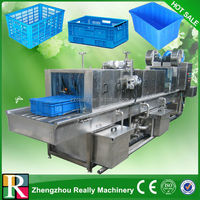 Automatic high pressure steam heating plastic crate washing machine