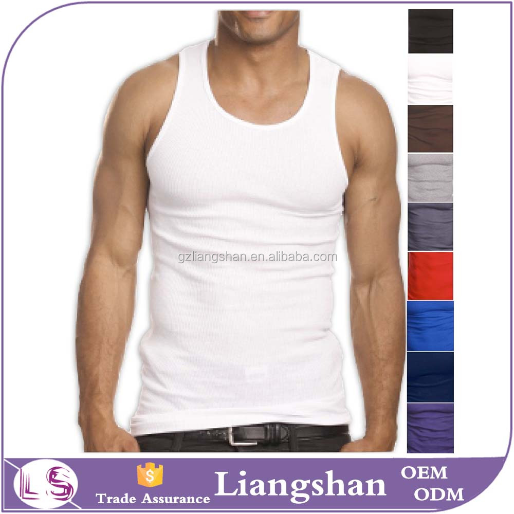 Customize Top Quality 100% Premium Cotton Mens A-Shirt Wife Beater Ribbed Fitness Stringer Tank Top Wholesale Men Muscle tshirt