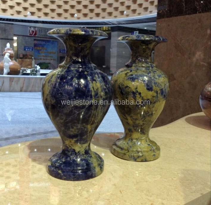 Unique Natural Sodalite Marble Antique Blue Vases