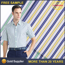 Wholesale High Quality 100% Cotton Striped Clothing Fabrics Top Selling Fashion Mercerizing Shirting Woven Fabric