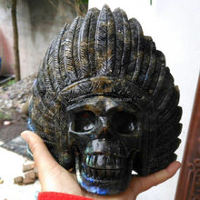 Natural crystal /gemstone hand carved indians skull for decoration