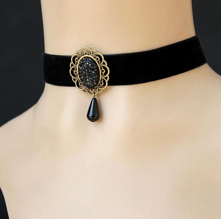 Gothic jewelry black necklace & pendant false collar accessories choker necklaces for women