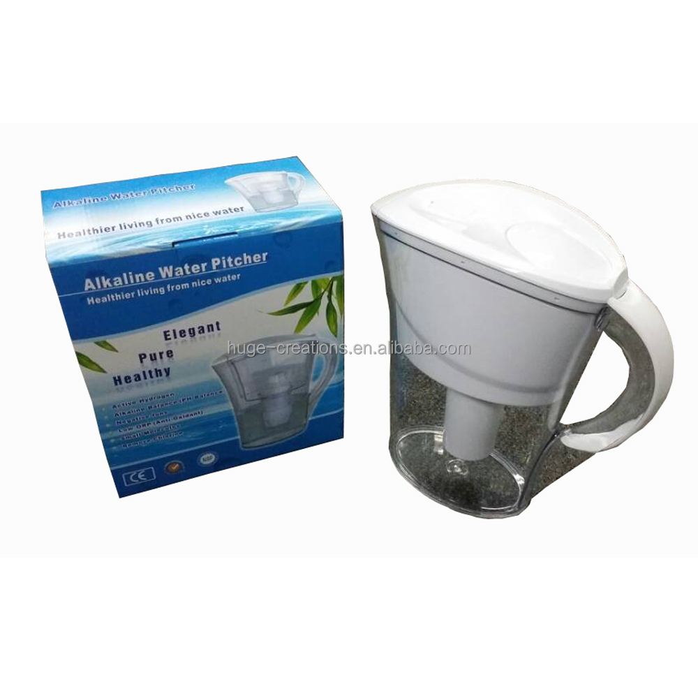 Wholesale high quality alkaline water pitcher environmental 2L water filter jug with plastic lid and handle JM-WP1