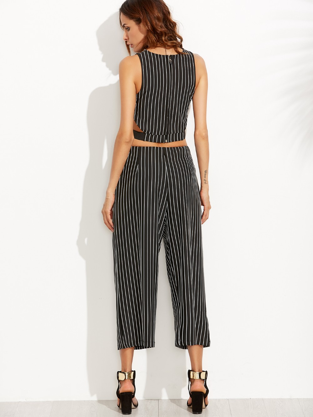 Fashion two piece outfits striped top with wide leg pants