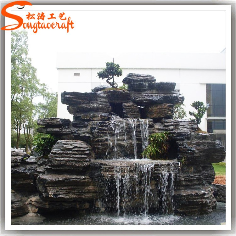 Outdoor water fountains waterfalls artificial fiberglass for Cascadas para jardin piedra