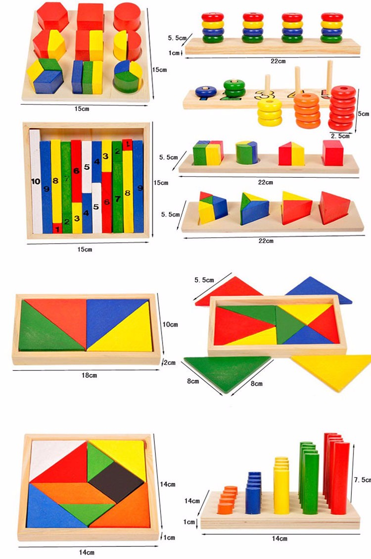 Solid Wood High Quality Math Learning Teaching Toy Set 14 in 1 Box Puzzle Jigsaw Wood