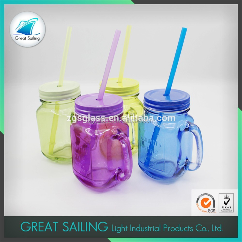 Colorful Glass Juice Jar Clear Color Glass Mason Jar With Handles