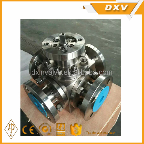 Stainless steel 304 A105 flange 4 way ball valve