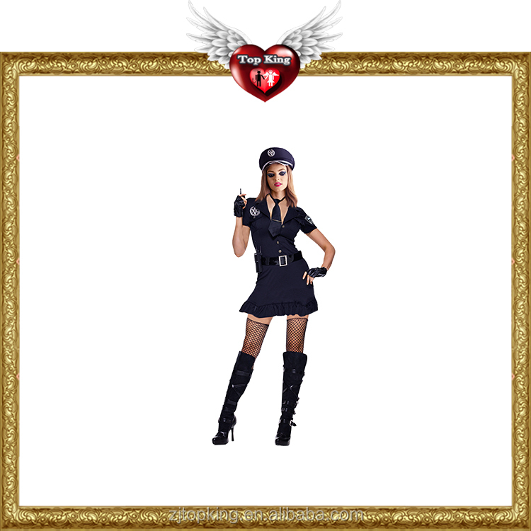 2016 Hot Sales Black Sexy Women Costume Sexy Police Woman Costumes for Hot Girls