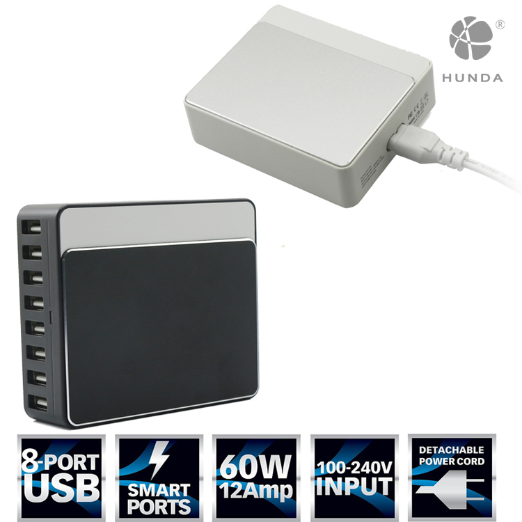 60w 8 Port multi wall charger travel usb charger micro usb Charging Station