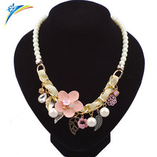 Fashion Women Flower Believe Maxi Necklaces Imitation Pearls Beads Crystal Collar