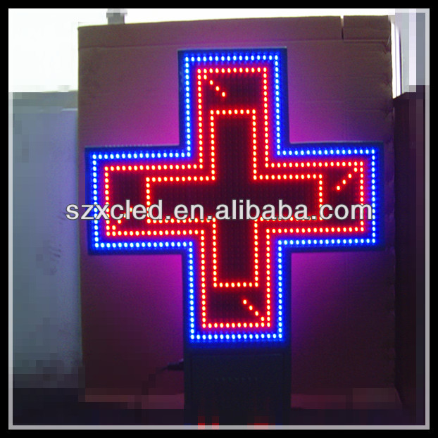 Double sides RB(Red and blue two color) P16-800x800mm pharmacy outdoor sign