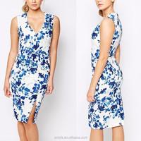 trendy lady midi dress sleeveless v-neck floral print pencil dresses for mature women clothing