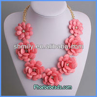 Wholesale New Arrival Pink Rose Flower With Crystal Cheap Statement Necklace PBN-082D